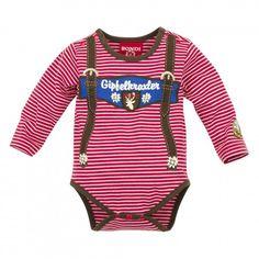 Baby Body gestreift ´Hosenträger´ stripe rot/weiss - Lederhosen Strampler für Junge