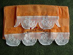 Conjunto toalhas banho laranja, com renda na ponta