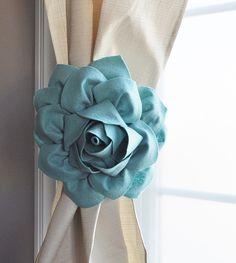 Dahlia Curtain Flower Tie Backs Curtain Tiebacks Curtain Holdback -Drapery Tieback Set of TWO -Baby Nursery Decor-Teal Dusty Blue Decor by bedbuggs on Etsy https://www.etsy.com/listing/264873700/dahlia-curtain-flower-tie-backs-curtain