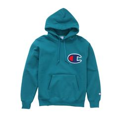 Champion Big C Logo Hoody: Turquoise Stylish Hoodies, Cool Hoodies, Cool Shirts, T Shirts, Champion Clothing Mens, Mens Champion Hoodie, Fox Racing Clothing, Polo Sport, Champion Brand