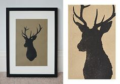 Stag's Head Silhouette Print on recycled ribbed Kraft paper • Wall Art