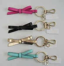 Kate Spade Leather Bow Key Fobs Purse Charm Black Gold Pink Blue