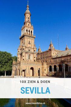 Top 10 bezienswaardigheden in Sevilla. Sevilla is de hoofdstad van Andalusië en misschien ook wel de mooiste stad van deze streek in Spanje. Er zijn tal van prachtige bezienswaardigheden in Sevilla. Wat moet je doen in Sevilla? 10 hoogtepunten van Sevilla op een rijtje. #reizen #reistips #stedentrip #sevilla #spanje #travelbliss Travel Advice, Travel Tips, Travel Destinations, Canary Islands, Spain Travel, Valencia, The Good Place, Dutch, Madrid