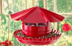 Pie tin bird feeder, made with a Vent  cap, aluminum pie plate, and an eyebolt.