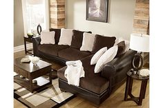 """The Victory 2-Piece Sectional from Ashley Furniture HomeStore (AFHS.com). The rich upholstery fabrics along with the plush contemporary design makes the """"Victory-Chocolate"""" upholstery collection the perfect addition to enhance the style of any living room decor."""