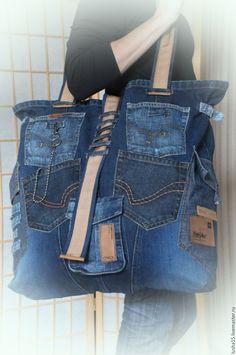 Купить Сумка-баул из джинсы - синий, однотонный, джинсовый стиль, джинс, джинса