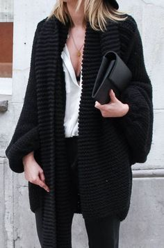 chunky black cable knit cardigan, black envelope clutch purse