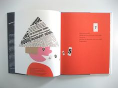 Many book designs of Paul Rand illustrate constrained visual language as he uses clean shapes to communicate the intended representation. This particular page spread depicts this with its colour pallet, limited to a few bright and bold, block colours and a newspaper pattern. The use of repetition with the red and the newspaper allow the visual to stay consistent. Consistency is also seen with  the cut out, 'choppy' style of shape lines, adding to the simplicity of the visual.
