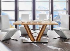 Esstisch Stühle Kreuzbeine Leder Sitz Massivholz | Essplatz und ...