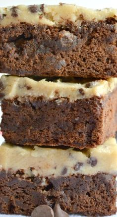 Cookie Dough Fudge Brownies Recipe ~ Thick fudge brownies covered in delicious eggless cookie dough... totally rich and decadent