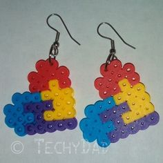 Perler Bead #Autism Heart Puzzle Earrings