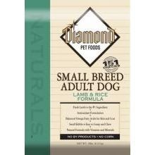 $23.99-$23.99 Small kibble enables your dog to pick up and chew, which helps clean teeth and reduce plaque. The 25% protein and 15% fat formula in Diamond Naturals Small Breed Adult Lamb & Rice Formula Dry Dog Food will provide your small breed adult dog with the nutrients necessary for optimal health and an active life.
