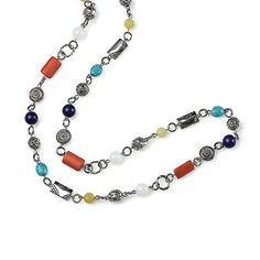 "-MADISON- ""An eclectic mix of diverse silver beads with bursts of purple, turquoise, red and green create an attractive mix of refreshing beauty."" $38"