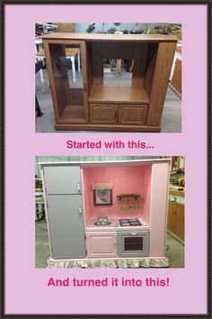 DIY Pink and gray play kitchen from entertainment center. Using inspiration from other posts, I made this play kitchen for my granddaughter Katie!