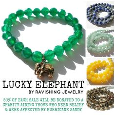 Charity Bracelet Lucky Elephant For Related To Hurricane Sandy By Ravishingjewelry 30 00
