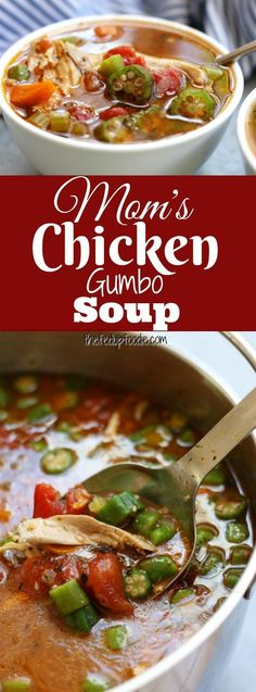 Mom's Chicken Gumbo Soup recipe~ a hearty, rich soup that warms you from the i. Mom's Chicken Gumbo Soup recipe~ a hearty, rich soup that warms you from the inside out while fighting off the winter colds and flu. A favorite that b. Chicken Gumbo Soup, Chicken Gumbo Recipes, Soup Recipes, Chicken Soups, Clean Eating Recipes, Easy Healthy Recipes, Real Food Recipes, Cooking Recipes, Cajun Cooking