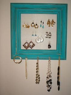 Distressed Wall Jewelry Organizer by SparkleandSatin on Etsy, $45.95