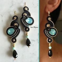 History of Earrings Soutache Bracelet, Soutache Jewelry, Wedding Jewelry, Diy Jewelry, Jewelery, Shibori, Handmade Necklaces, Handmade Jewelry, Hand Chain