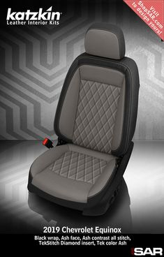 - This is a 2019 Chevrolet Equinox seat with Black wrap, Ash face, Ash contrast all stitch, TekStitch Diamond insert, Tek color Ash. Car Seat Upholstery, Car Interior Upholstery, Automotive Upholstery, Suv Seat Covers, Leather Car Seat Covers, Custom Car Interior, Truck Interior, Chevrolet Equinox, American Racing Wheels
