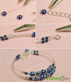 DIY Bijoux – finish this simple blue pearl bracelet… Bead Jewellery, Wire Jewelry, Jewelry Crafts, Beaded Jewelry, Jewelery, Ankle Bracelets, Jewelry Bracelets, Pearl Bracelets, Pearl Rings