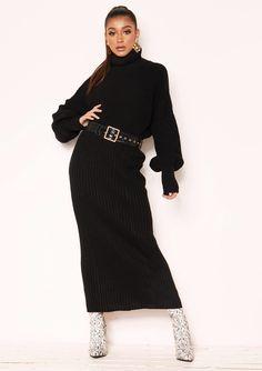 8d5c3f79c54 Missyempire - Vicki Black Knit Jumper Midi Co-ord Set Co Ord Sets, Black