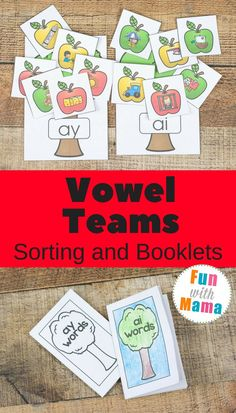 Working on reading and spelling skills with the fun apple vowel team booklets and sorting. Vowel teams can be tricky but with practice, they are a breeze. Educational Activities For Toddlers, Spelling Activities, Alphabet Activities, Literacy Activities, Esl Lessons, Lessons For Kids, Teaching Vowels, Kindergarten Language Arts, Creative Teaching