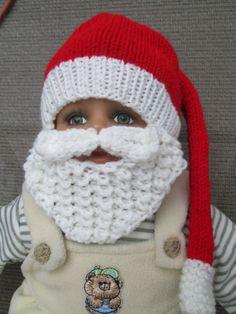36 M Baby Santa beard Hat Christmas Photo Prop Red by Ritaknitsall, $30.00