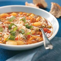 Best Loved Recipes: Gnocchi Chicken Minestrone Recipe from Barbara Estabrook in Rhinelander, WI. Order your copy today of the Best Loved Recipes cookbook at www.tasteofhome.com/rd.asp?id=21570 #TasteofHome #BestLovedRecipes