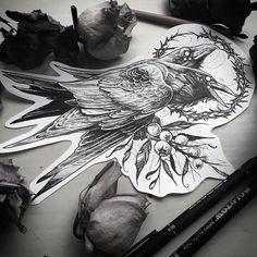 Hunnin and munnin Tattoo Sketches, Tattoo Drawings, Body Art Tattoos, Sleeve Tattoos, Fox Tattoos, Tree Tattoos, Deer Tattoo, Phoenix Tattoos, Elephant Tattoos