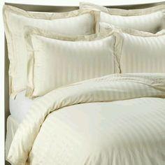 Wamsutta Duvet Cover Damask Ivory Stripe Cotton Sateen King EUC