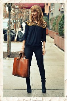 Love the Zara embellished cape over a knit top & want that Zara handbag!