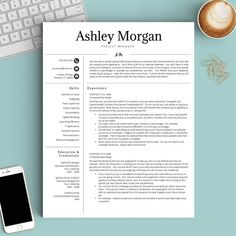Pretty initials design on this professional resume template!