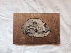 Grizzly Bear Skull Pen Drawing on Wood Panel by mackmasch on Etsy