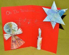 Geldgeschenke basteln für Weihnachten: Engel, Stern und Kerze aus Geldscheinen falten