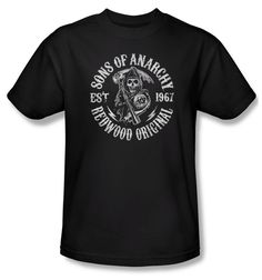 Sons Of Anarchy Shirt Redwood Originals Adult Black Tee T-Shirt Sons Of Anarchy Redwood Originals Shirts Sons Of Anarchy Shirt Redwood Originals Adult