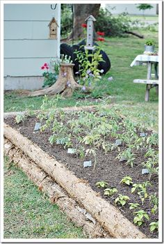 Raised Cedar Log Garden Beds That My Husband Built For Me Perfect For Gardening Here