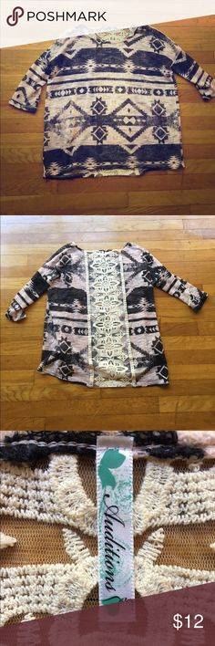 Cute Tribal print top The quarter sleeved top has a see through lace material on the back. It's only been wore a couple of times and still in great condition! Auditions  Tops Tunics