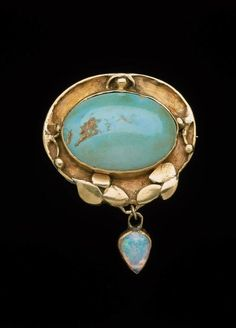 Brooch, Elizabeth Ethel Copeland (1866–1957), 1907, American, Gold, turquoise and opal cabochons, Museum of Fine Arts, Boston