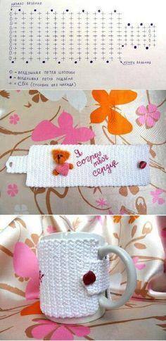 also for the office! Crochet Kitchen, Crochet Home, Crochet Crafts, Fabric Crafts, Crochet Ideas, Simply Crochet, Love Crochet, Crochet Stitches Patterns, Stitch Patterns