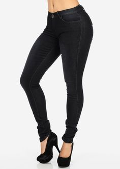 """Black, faded, skinny jeans with button and zipper closure have five pockets,  belt loops, matching stitching, and decorative rhinestone star on each back pocket.  Material: 88% Cotton/ 9% Polyester/ 3% Spandex.  Rise: 7.5""""  Inseam: 32""""  Leg Opening: 10""""  Size: 7, 13,  15"""