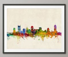 Nashville Tennessee Skyline Art Print  12x16 up to by artPause, £12.99