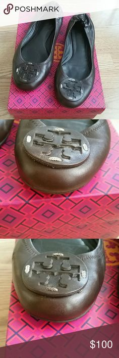 Tory Burch  brown Reva flats Pre owned,some wear,leather in good condition, no scratches , brown  leather   logo ,box not included   Measurement  11 inches outsole, will fit size 9 , 10 Tory Burch Shoes Flats & Loafers