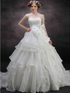 $262.59 Shining A-Line Strapless Tube Top Sweep Train Oganza Tiered Bowknot Wedding Dresses #Cheap #wedding #dresses #