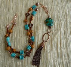 Turquoise and Copper African Kazuri Necklace by fairchic on Etsy, $30.00