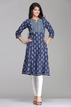 Beautiful Blue A-Line Cotton Kurta With Side Tie-Ups By Farida Gupta