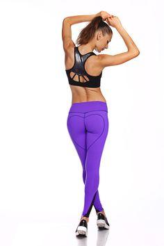 Large Yoga Pants Purple Leggings Heart Butt Yoga by NINABROZE