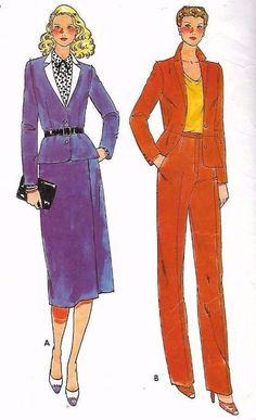 "Vintage 1970s Sewing Pattern Butterick 6673 Suit Jacket Wrap Skirt & Pants B38"""