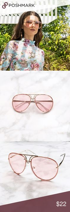 PINK LENS OVERSIZED AVIATOR SUNGLASSES PRICE FIRM!! Clear pink colored tinted lens Gold Trim Aviator style Oversized fit Approximate measurements:  Full width 5.75 in Individual lens size: 2.5in W, 2.25 in L Side bar 5.5 in.  THIS LISTING IS FOR 1 PINK OVERSIZED AVIATOR SUNGLASSES. ALL PICTURES TAKEN EXCLUSIVELY FOR STYLE LINK MIAMI AND SHOWING ACTUAL PRODUCTS. PRICE FIRM. Style Link Miami Accessories Sunglasses