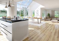 Der offene und großzügige Wohn-/Essbereich ist ein wahrer Hingucker. Zudem befindet sich im gleichen Raum die Küche. Lichtdurchflutet wird die Mitte des Raums von der Galerie mit Fensterfront. Mehr zum Kern-Haus Maxime finden Sie unter: http://www.kern-haus.de/haeuser/familienhaeuser/maxime/