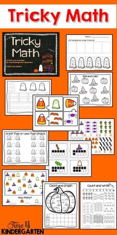 Halloween themed math for kindergarten.  Skills Covered are: Counting, One-to one Correspondence, Graphing, Patterning, Greater than Less,  Than, Missing Numbers, Number order, Size,  and Number Handwriting.